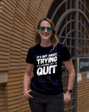 It's not about trying its learning not to quit Premium Fit Ladies Tee lifestyle-women-crewneck-front-2