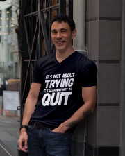 It's not about trying its learning not to quit V-Neck T-Shirt lifestyle-mens-vneck-front-1