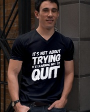 It's not about trying its learning not to quit V-Neck T-Shirt lifestyle-mens-vneck-front-2