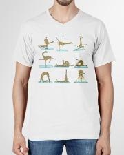 GIRAFFE YOGA VECTOR STYLE  V-Neck T-Shirt garment-vneck-tshirt-front-01
