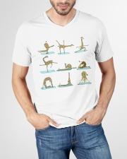 GIRAFFE YOGA VECTOR STYLE  V-Neck T-Shirt garment-vneck-tshirt-front-lifestyle-01