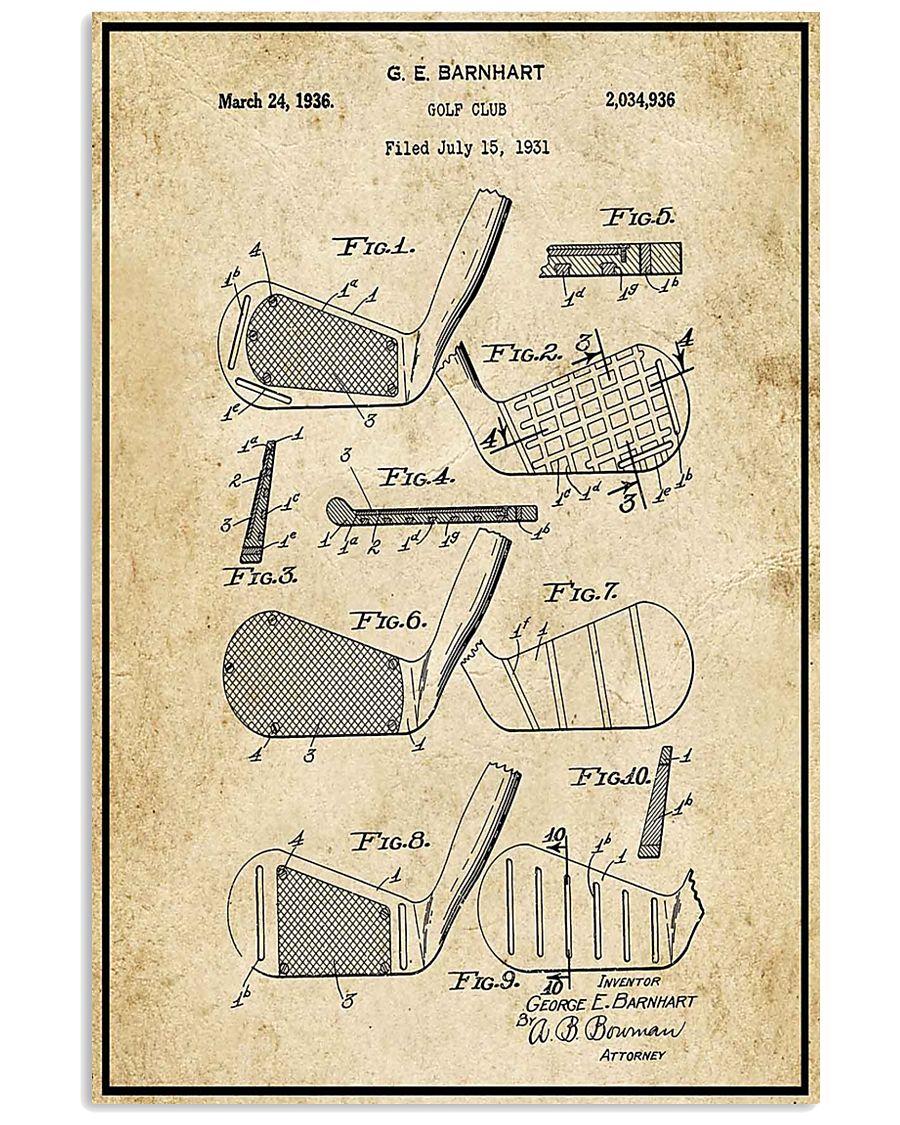 Golf Club Patent Drawing 16x24 Poster
