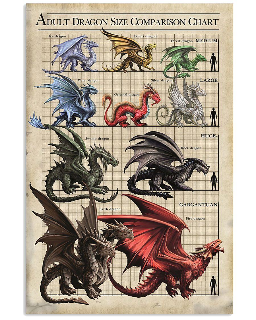 ADULT DRAGON SIZE COMPARISON CHART 16x24 Poster