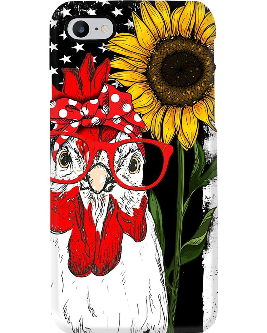 American Flag Sunflower Chicken Phone Case