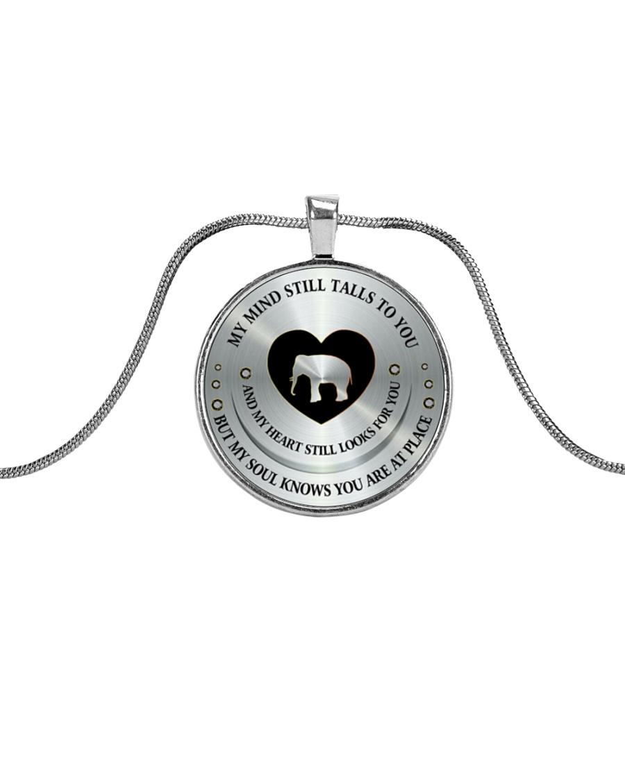 MY MIND STILL TALKS TO YOU Metallic Circle Necklace
