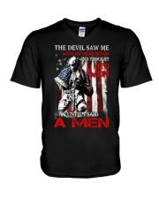 Veteran The devil saws V-Neck T-Shirt thumbnail