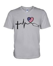 Faith Hope Love Nurse USa V-Neck T-Shirt thumbnail