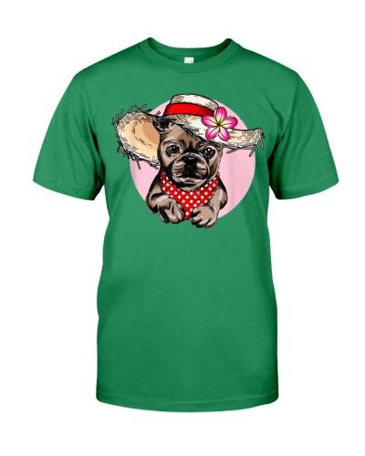 Bulldog Lover family flowery straw-shirt