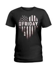 Distressed Red Friday Usa Heart Military T Shirt V Ladies T-Shirt thumbnail