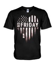 Distressed Red Friday Usa Heart Military T Shirt V V-Neck T-Shirt thumbnail