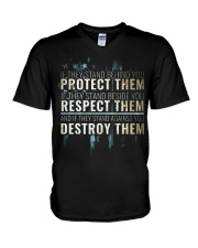 LIMITED EDITION - PROTECT RESPECT DESTROY V-Neck T-Shirt thumbnail