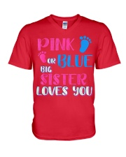 PINK OR BLUE BIG SISTER LOVES YOU V-Neck T-Shirt tile