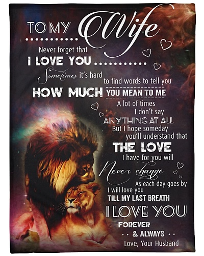 Blanket-Lion- To my Wife - Love Husband-HTV
