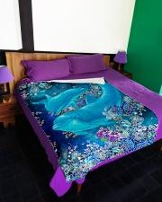 "Blanket-Beautiful dolphins-HTV Large Fleece Blanket - 60"" x 80"" aos-coral-fleece-blanket-60x80-lifestyle-front-01"