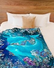 "Blanket-Beautiful dolphins-HTV Large Fleece Blanket - 60"" x 80"" aos-coral-fleece-blanket-60x80-lifestyle-front-02"