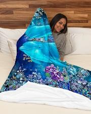 "Blanket-Beautiful dolphins-HTV Large Fleece Blanket - 60"" x 80"" aos-coral-fleece-blanket-60x80-lifestyle-front-03"