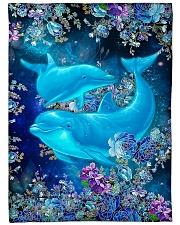 "Blanket-Beautiful dolphins-HTV Large Fleece Blanket - 60"" x 80"" front"