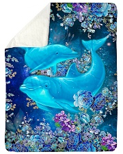 Blanket-Beautiful dolphins-HTV Sherpa Fleece Blanket tile