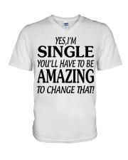 I AM SINGLE V-Neck T-Shirt thumbnail
