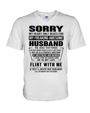 MY FREAKING AWESOME HUSBAND V-Neck T-Shirt tile