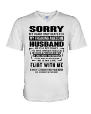 MY FREAKING AWESOME HUSBAND- version V-Neck T-Shirt tile