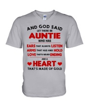 AND GOD SAID LET THERE BE AUNTIE V-Neck T-Shirt thumbnail