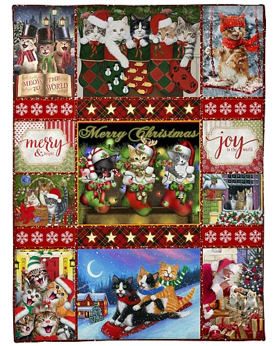 BLANKET - CATS - MERRI CHRISTMAS