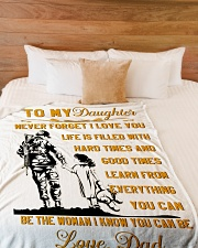 "BLANKET- TO MY DAUGHTER- VETERAN Large Fleece Blanket - 60"" x 80"" aos-coral-fleece-blanket-60x80-lifestyle-front-02"