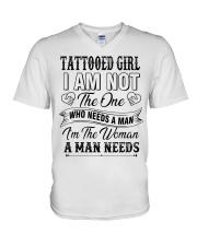 Tattooed girl version V-Neck T-Shirt thumbnail
