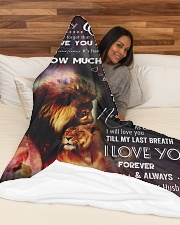 """Blanket-Lion- To my Wife - Love Husband-HTV Large Fleece Blanket - 60"""" x 80"""" aos-coral-fleece-blanket-60x80-lifestyle-front-03"""