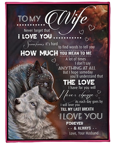 Blanket-Wolf- To my Wife - Love Husband-HTV