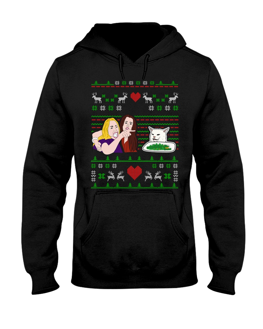 Woman Yelling at a Cat Ugly Christmas  Hooded Sweatshirt