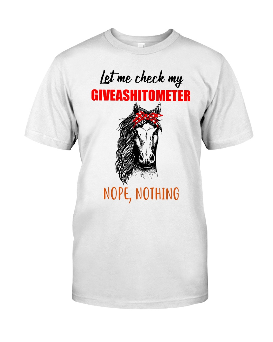 Horse Let Me Check My Giveashitometer Nope Nothing Vintage Men/'s T-Shirt White