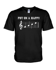 Put On A Happy FACE Funny Music Musician V-Neck T-Shirt front