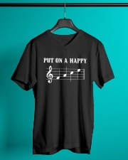 Put On A Happy FACE Funny Music Musician V-Neck T-Shirt lifestyle-mens-vneck-front-3