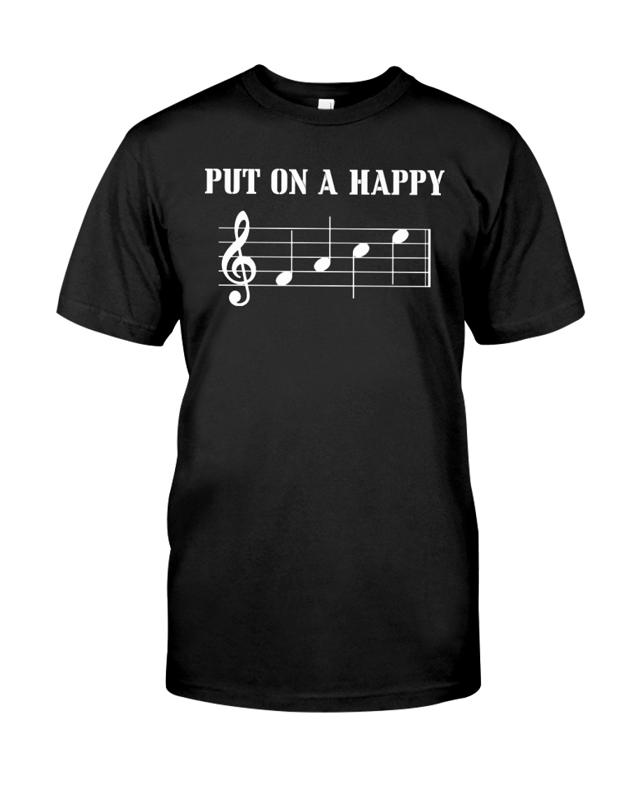 Put On A Happy FACE Funny Music Musician Premium Fit Mens Tee