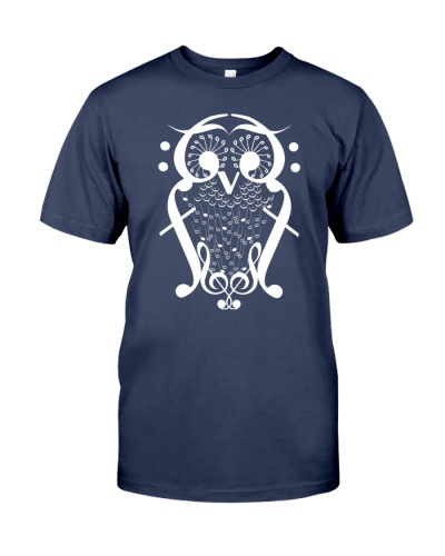 TSHIRT FOR MUSICIAN MUSIC TEACHER - OWL BIRD NOTE