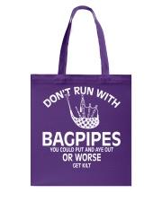 Don't run with bagpipes TSHIRT PIPER PIPE BAND Tote Bag thumbnail