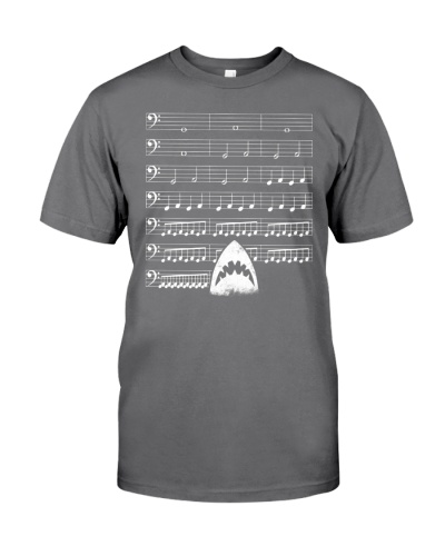 Funny Shark background music bass clef t-shirt
