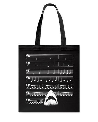 Funny Shark background music bass clef t-shirt