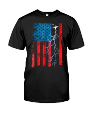 American flag with Electrician TShirts Classic T-Shirt front