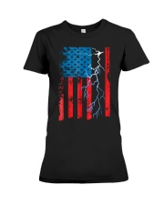 American flag with Electrician TShirts Premium Fit Ladies Tee thumbnail