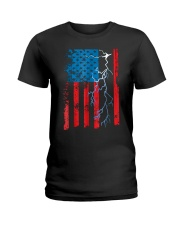 American flag with Electrician TShirts Ladies T-Shirt thumbnail