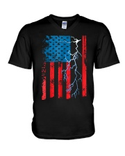 American flag with Electrician TShirts V-Neck T-Shirt thumbnail