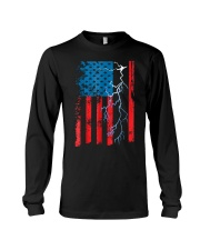 American flag with Electrician TShirts Long Sleeve Tee thumbnail