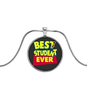 Best Student ever Back to School Metallic Circle Necklace thumbnail