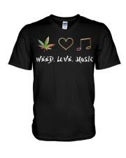 Weed Love Music V-Neck T-Shirt thumbnail