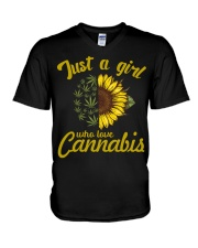 Just A Girl Who Loves Cannabis V-Neck T-Shirt tile