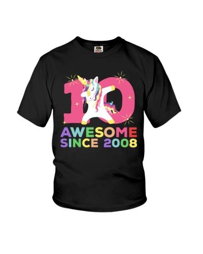 Awesome Since 2008 Birthday Unicorn Dab T-shirt
