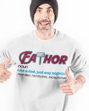 FATHOR - LIKE A DAD JUST WAY MIGHTIER Crewneck Sweatshirt apparel-crewneck-sweatshirt-lifestyle-front-33